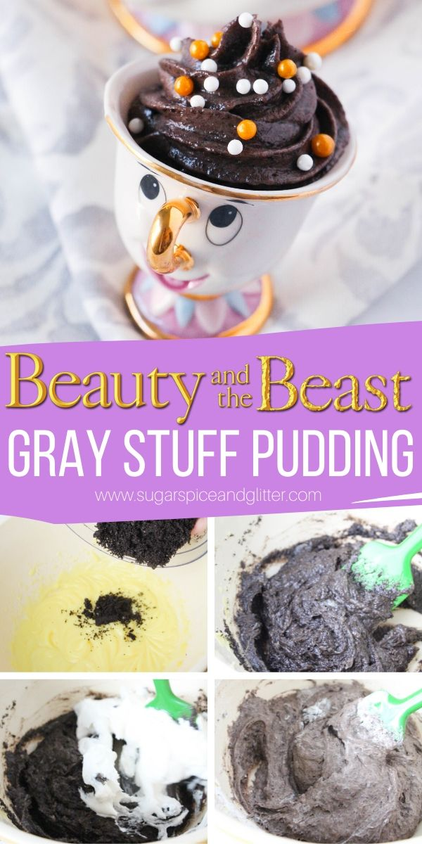 How to make Disney's Gray Stuff, a rich and luxurious cookies and cream pudding inspired by Disney's Beauty and the Beast - perfect for a Beauty and the Beast party or movie night