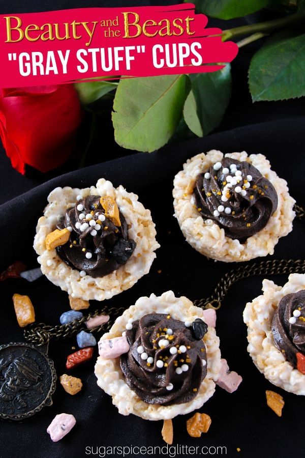 A fun Disney dessert idea for a Beauty and the Beast night or Pirates theme, these Gray Stuff No Bake Rice Krispie Cups are a delicious treat kids can make independently