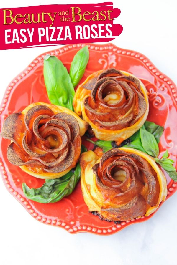 How to make pizza roses - a fun and unique pizza appetizer perfect for movie night, lunch boxes, or even a romantic Valentine's Day treat for a pizza lover