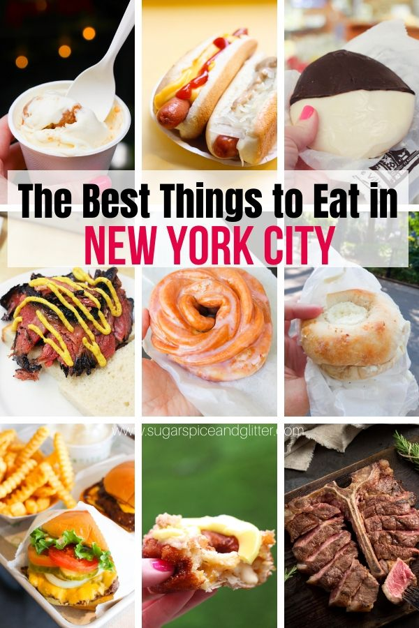 The BEST Things to Eat in NYC and where to find them - classic NYC foods that you must try on your NYC family vacation. All are foodie-friendly and affordable - and there's a free printable checklist to help ensure you try every one!