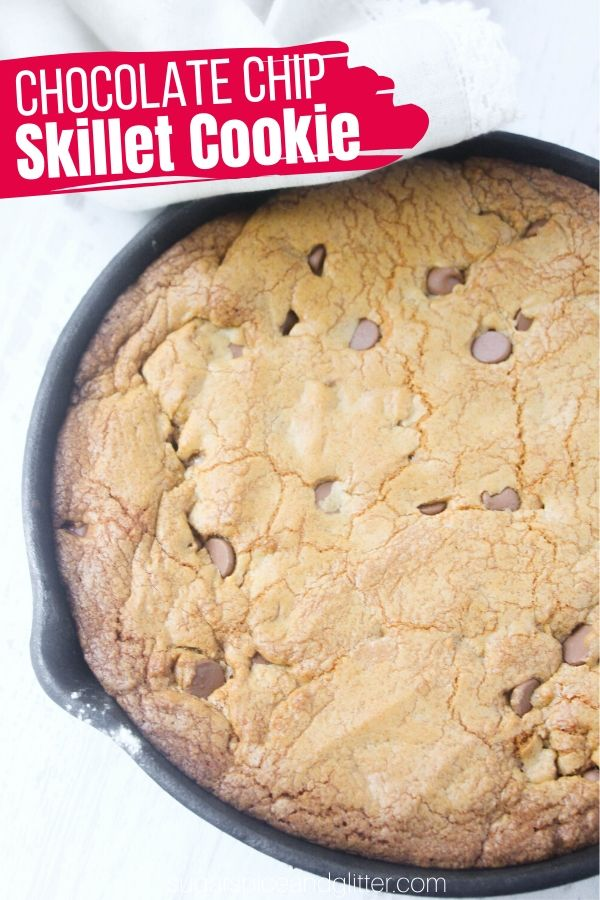 A super simple skillet dessert recipe, this Chocolate Chip Skillet Cookie is the perfect special dessert for the chocolate chip cookie lover in your life! What's better than a skillet-sized cookie?