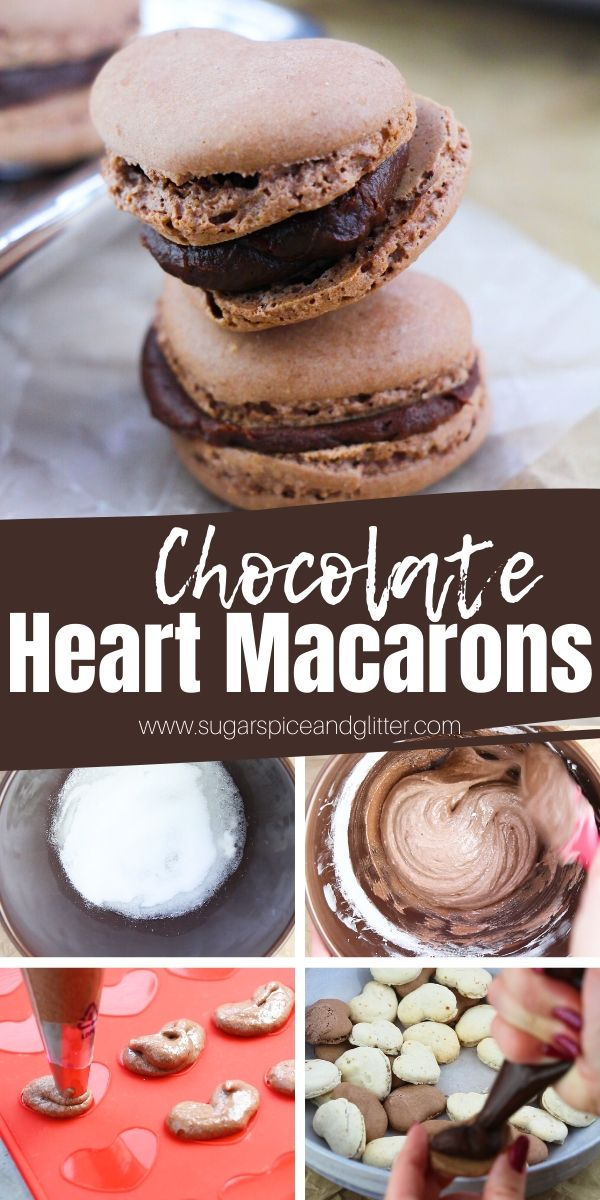 Super simple chocolate heart macarons with chocolate ganache filling - this is simply the best chocolate macaron recipe, with a how-to video and step by step instructions