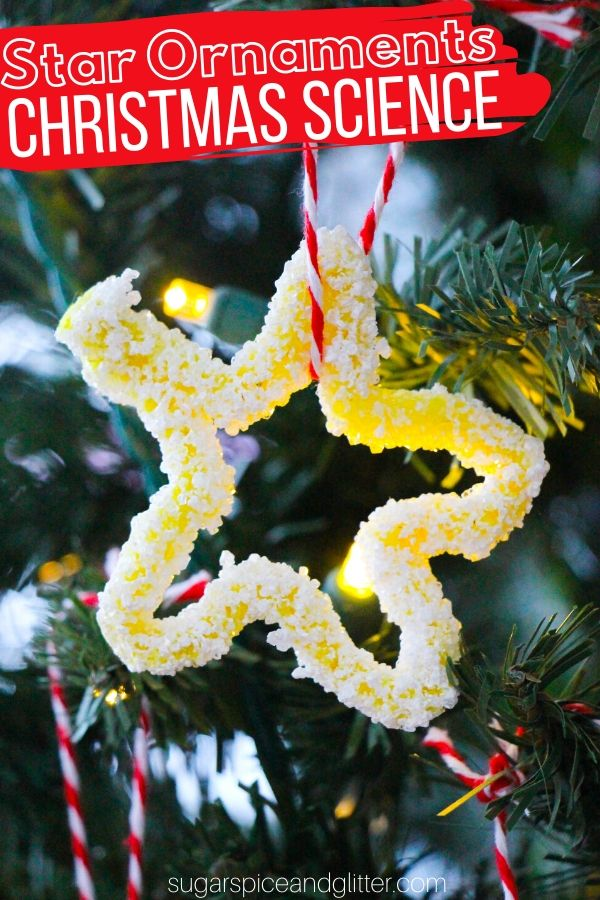 A fun Christmas science experiment results in these glittery and gorgeous Christmas ornament. Grow your own Crystal Stars using just a few basic household materials