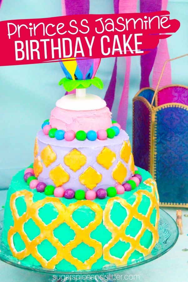 A step-by-step tutorial for a super simple Princess Jasmine birthday cake, perfect for an Arabian Nights theme or Aladdin birthday party