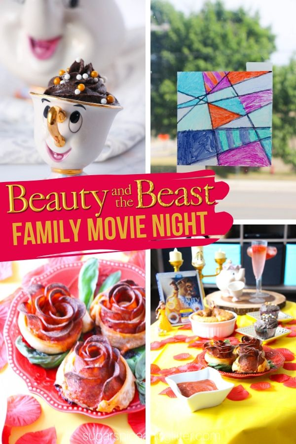 Plan the BEST Beauty and the Beast Disney movie night for your family with these menu, craft and decor ideas, plus free printable movie night planner
