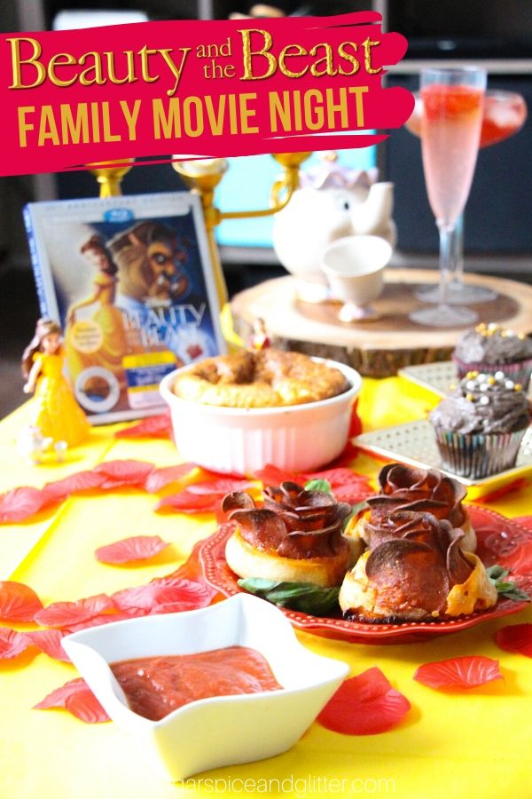 Everything you need to plan the ultimate Beauty and the Beast movie night for your family - themed menu, easy decor ideas and even Beauty and the Beast crafts to help build excitement
