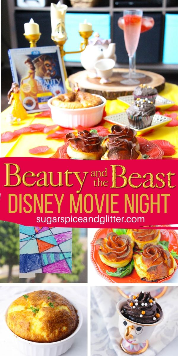 An amazing themed Disney movie night for Beauty and the Beast: pizza roses, gray stuff, cheese souffle, and a stained glass craft for kids - plus lots of other menu and craft ideas. Plus a free printable to help plan an epic movie night of your own