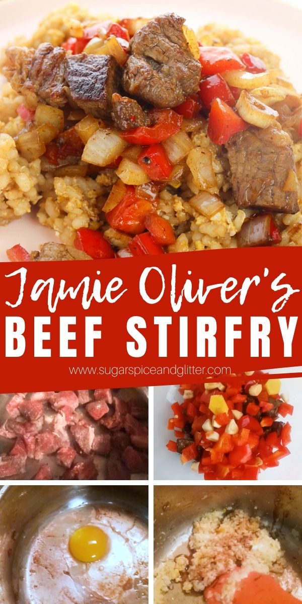 How to make the best beef stir fry in just 15 minutes! This simplified take on a Jamie Oliver classic recipe uses leftover rice, any cut of beef and your favorite vegetables to create a mouth-watering meal that's better than take-out