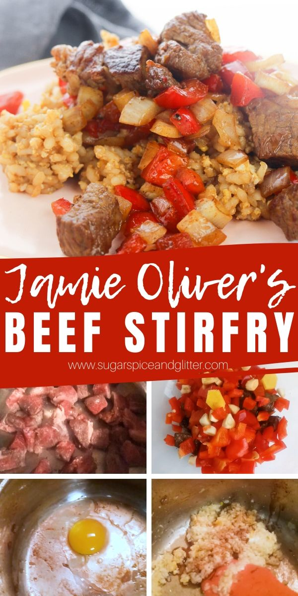 A quick and easy beef stir-fry recipe inspired by Jamie Oliver! This sesame beef stir fry comes together in just 15 minutes and packs serious flavor, protein and veg!