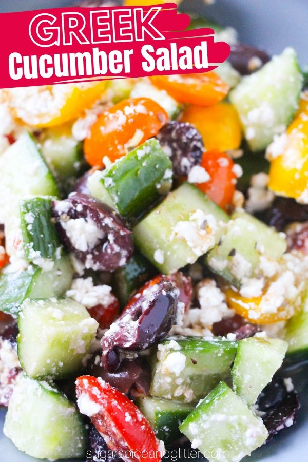 A super easy summer salad recipe, perfect for potlucks, tailgating, or an easy side dish. This Greek cucumber salad features fresh veggies, an easy Greek salad dressing and fresh feta cheese