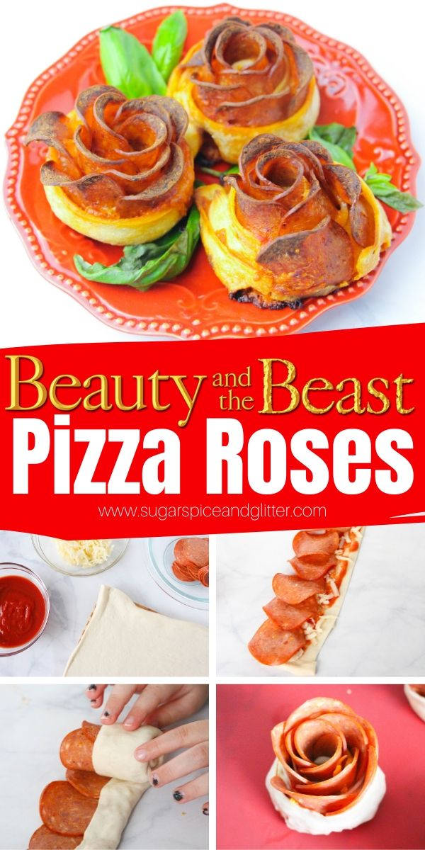 These Pepperoni Pizza Roses are the perfect recipe for a Beauty and the Beast party or family movie night - and so simple the kids can make them!