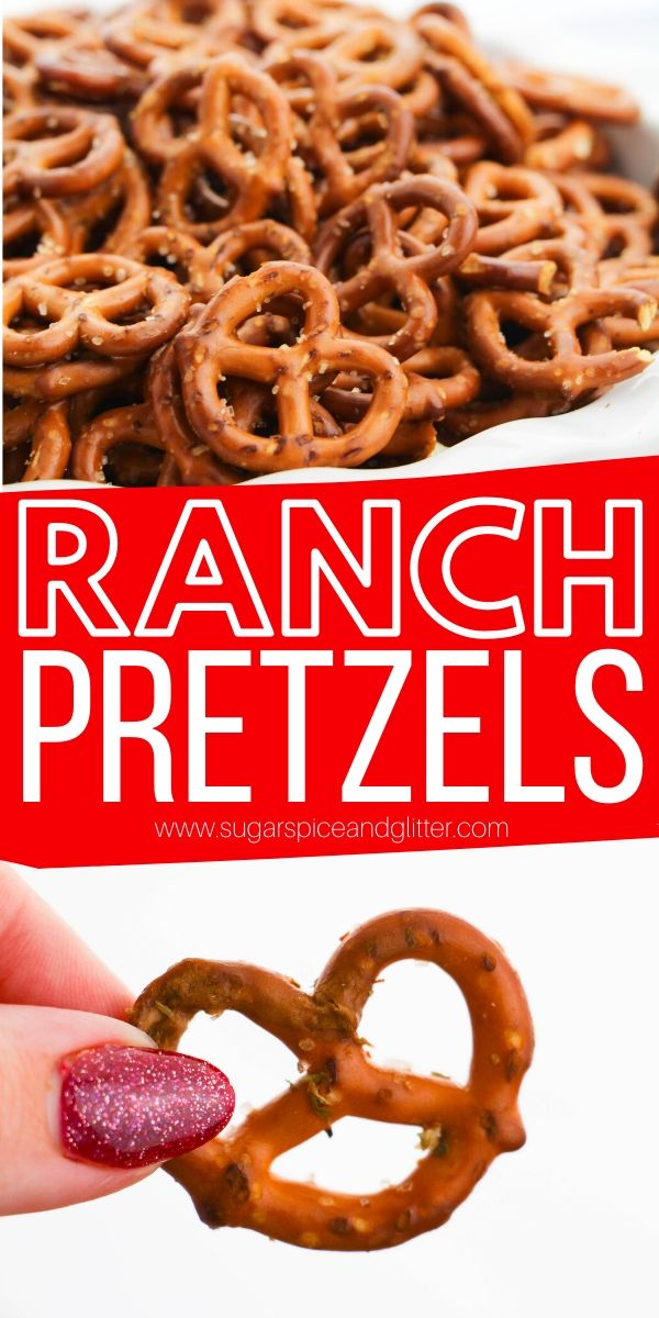 Ranch pretzels are the perfect easy snack recipe for road trips, parties, tailgating - or a homemade gift. A simple recipe kids can make