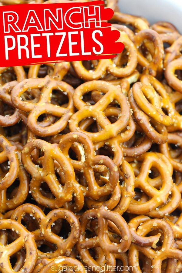 How to make super simple ranch seasoned pretzels - zesty, salty and oh so addictive! Perfect for road trips, parties or tailgating