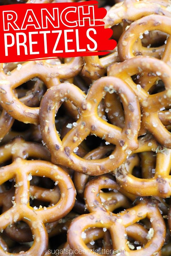 These ranch pretzels are a super simple recipe kids can make - they make a great homemade gift or a fun movie night snack