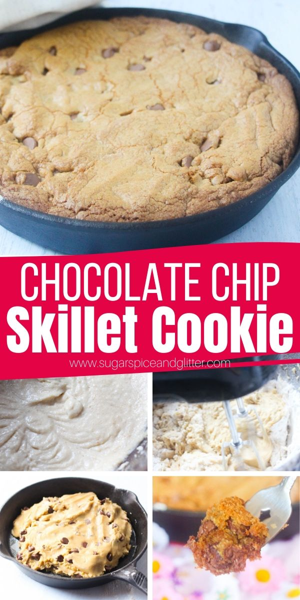 How to make a Chocolate Chip Skillet Cookie. This brown butter chocolate chip cookie has that perfect amount of crispy caramelization on the edges and the inside of the cookie is soft, tender and just melts in your mouth! Serve with ice cream for a truly decadent cookie sundae