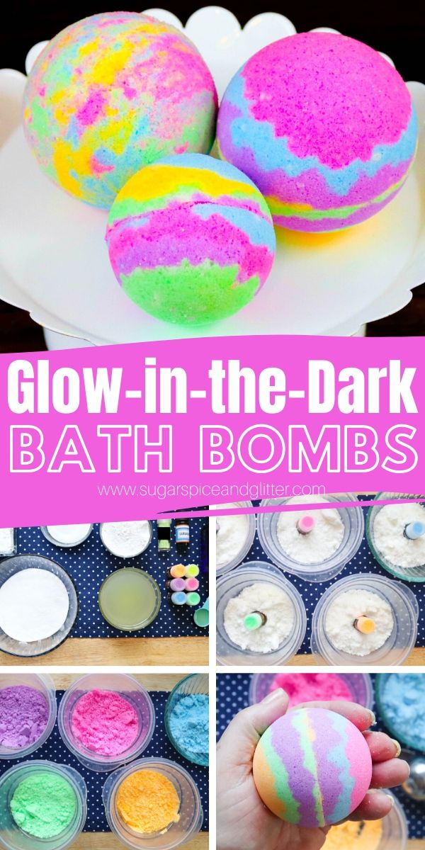 You won't believe how easy these glow in the dark bath bombs are to make! Natural ingredients, amazing coconut lime scent and they actually glow in the dark!