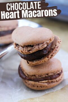 Heart-Shaped Chocolate Macarons with Chocolate Ganache Filling (with Video)