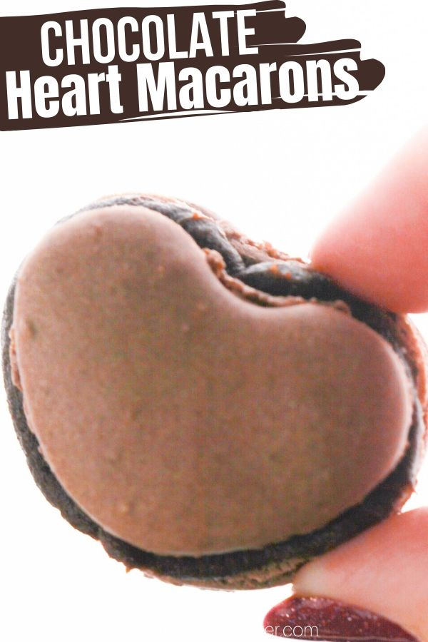 Heart-Shaped Chocolate Macarons with Chocolate Ganache Filling