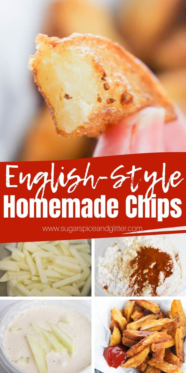 Crispy, golden french fries with tender, fluffy centers, these English-Style Chips are the perfect side dish for fish, steaks, burgers, etc. Includes frying, air frying or baking instructions