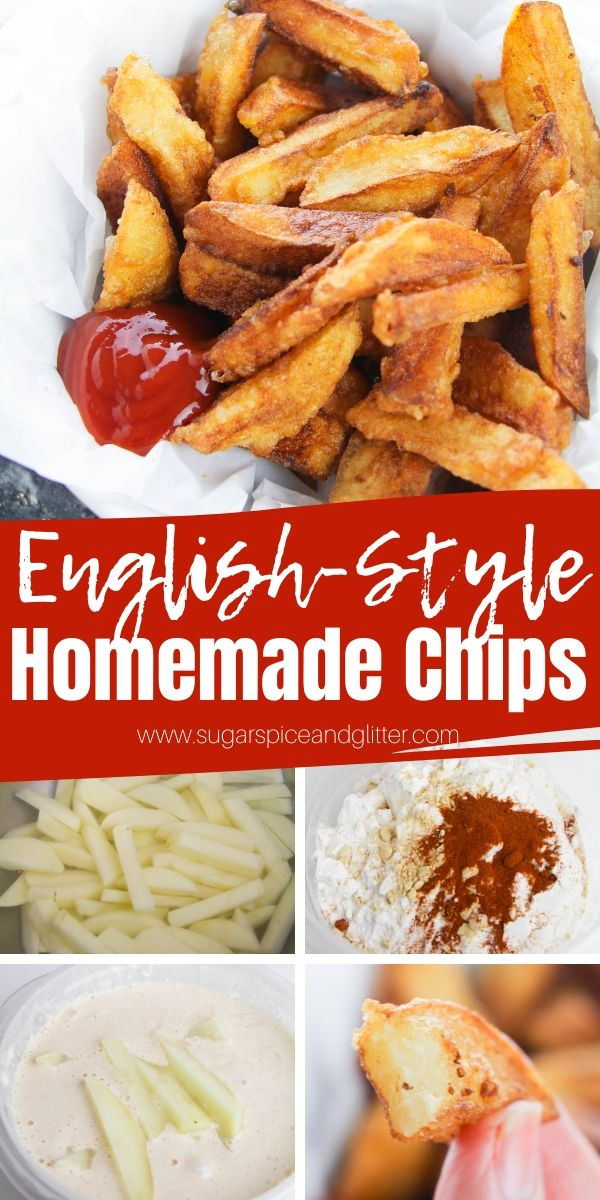 This Homemade English Chips recipe is super easy and delicious, but maybe too easy and delicious - you'll be making this easy side dish for every thing: steaks, seafood, burgers, etc. Includes how to fry, air fry or bake these golden fries