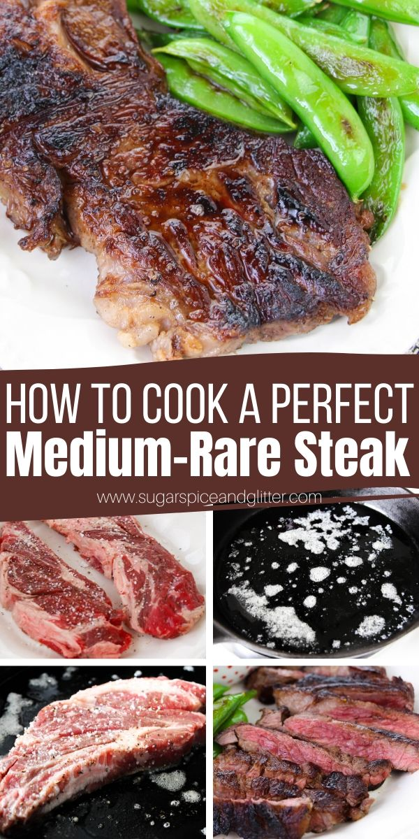 An informative, step-by-step guide on how to cook a PERFECT Medium Rare Steak using a cast iron skillet, from selecting the best cut of steak, to how to get that crunchy, caramelized bark, and how to test without using a meat thermometer