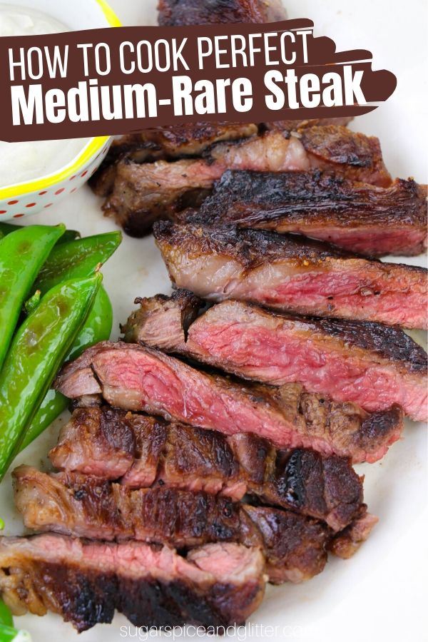 How to cook the perfect Medium Rare Steak in a Cast Iron Skillet. Includes tips on getting a delicious, crunchy sear, the best steaks to use, and whether to use the stove or the oven for best results