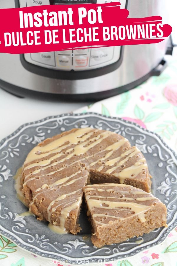 Rich, fudgy dulce de leche brownies made in the Instant Pot! This Instant Pot dessert uses homemade dulce de leche to make a caramelized brownie recipe that is truly restaurant-worthy