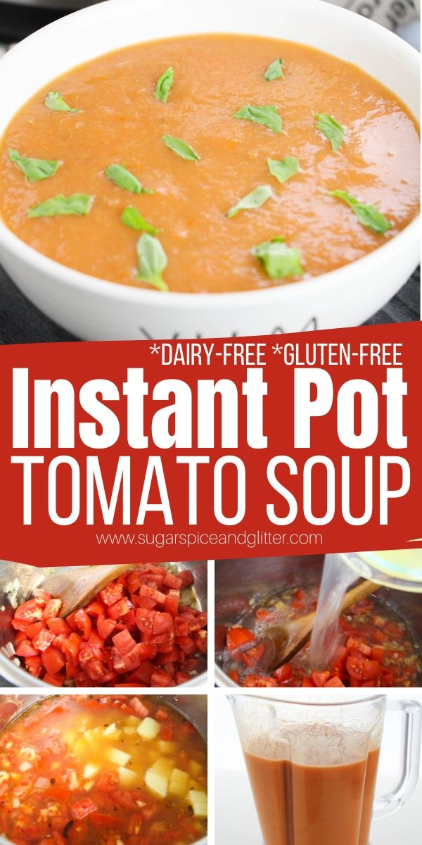 A quick and easy Instant Pot Tomato Soup recipe with less than 5 minutes prep time! This flavorful and creamy tomato soup is dairy-free and gluten-free, and chock full of healthy ingredients
