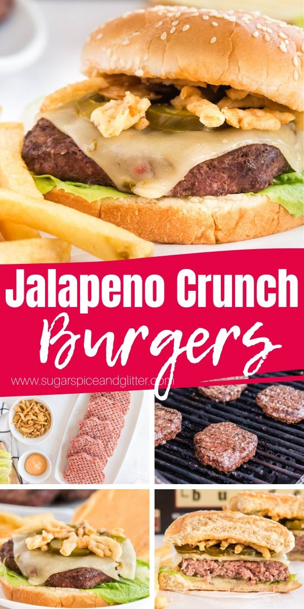 How to make Jalapeno Crunch Burgers, a fun Cowboy burger perfect for your next BBQ! If you like your food a little bit spicy, you're going to love these unique cheeseburgers