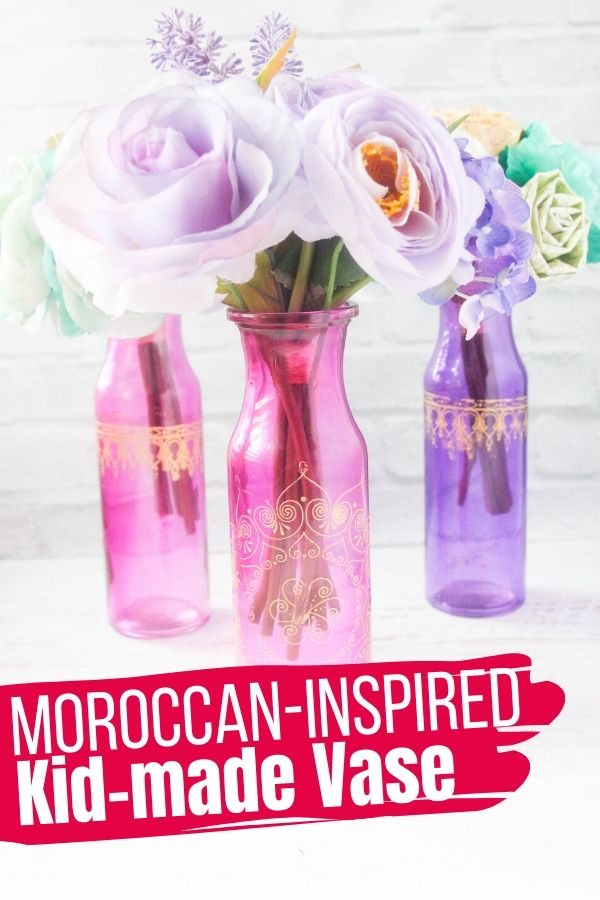 An easy craft for kids to make for DIY room decor or a sweet homemade gift. These Princess Jasmine-inspired vases take less than 5 minutes to make!
