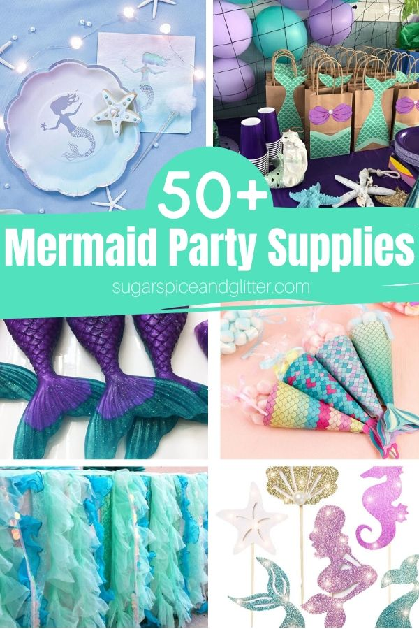Look at this stuff, isn't it neat? Wouldn't you say your birthday planning's complete? Over 50 Awesome Mermaid Party Supplies, from party decor, party favors, mermaid party outfits, cupcake decorating kits, and more!