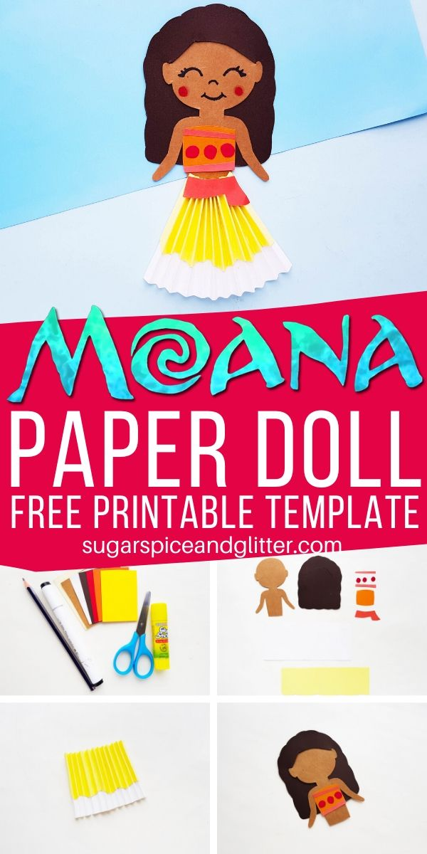 A super simple Disney craft for kids, this Moana Paper Doll can be used to make your own puppets or add to a pretty Moana birthday card. Use our free printable template to make your own!