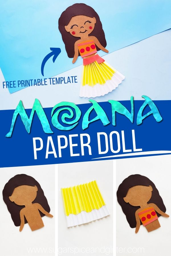 How to make a Moana Paper Doll, plus free printable template! Perfect for a Moana family movie night or Moana birthday party
