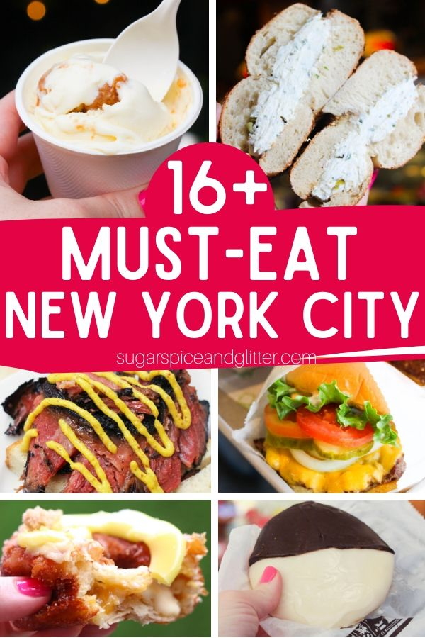 16 Things you MUST EAT in New York City. No trip to NYC is complete without ensuring that you try the best foods NYC has to offer. We also have a free printable checklist so you can make sure you try everything on the list
