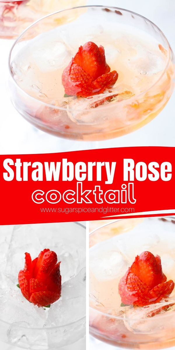 A gorgeous Strawberry Rose cocktail recipe - perfect for girl's night or a Beauty and the Beast Disney cocktail recipe