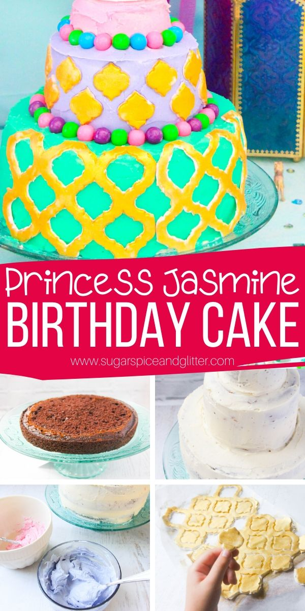 How to make a super simple Princess Jasmine birthday cake - so easy, the kids can help make it! This three-tier birthday cake uses a combination of homemade buttercream and edible gold fondant and can be made smaller if you have a smaller party