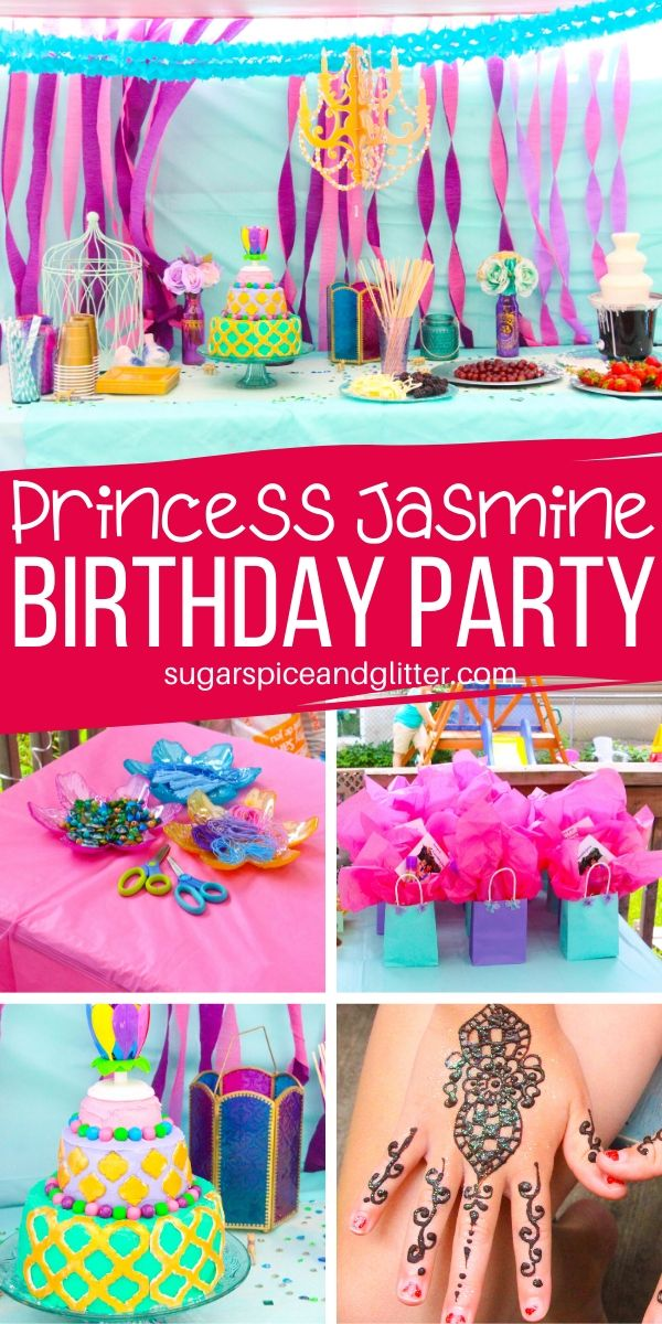 How to plan a memorable Princess Jasmine Birthday Party on a budget: food, decor, activities and party favors, plus tons of extra ideas for the best kids' birthday party ever