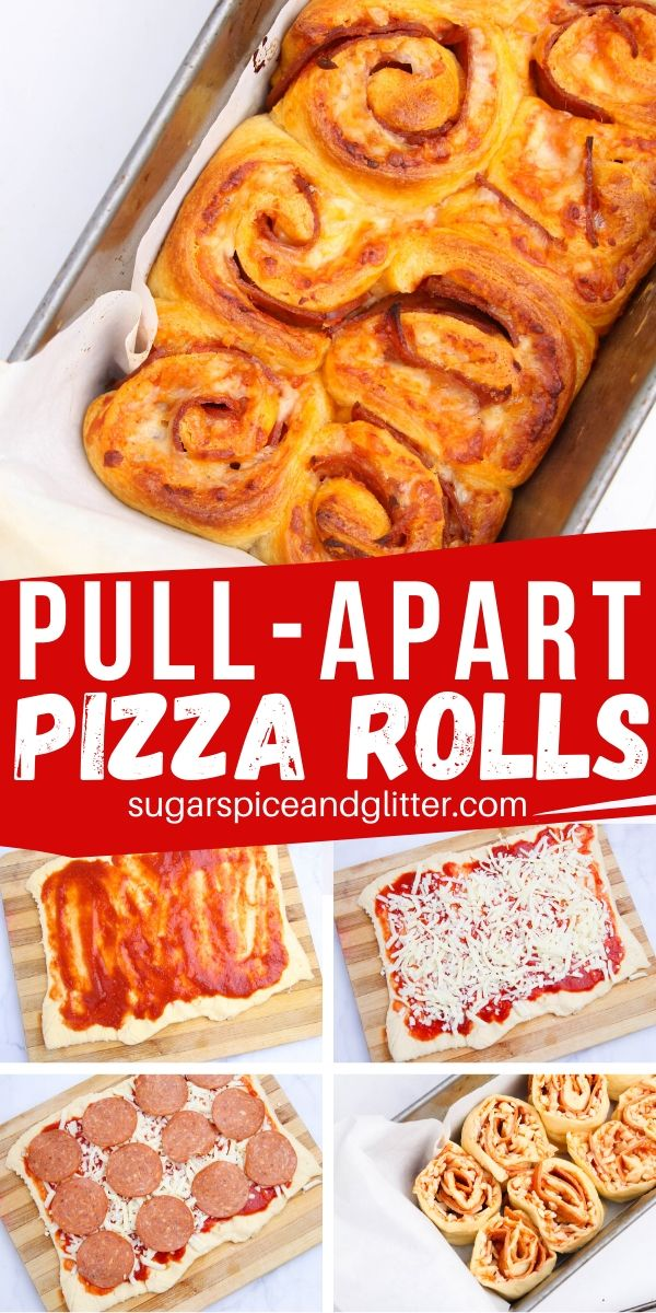 How to make pull-apart pizza rolls with just 6 ingredients! This fun party appetizer is perfect for a family night snack or a lunch box surprise! Pair this unique pizza appetizer with your favorite pizza dipping sauces