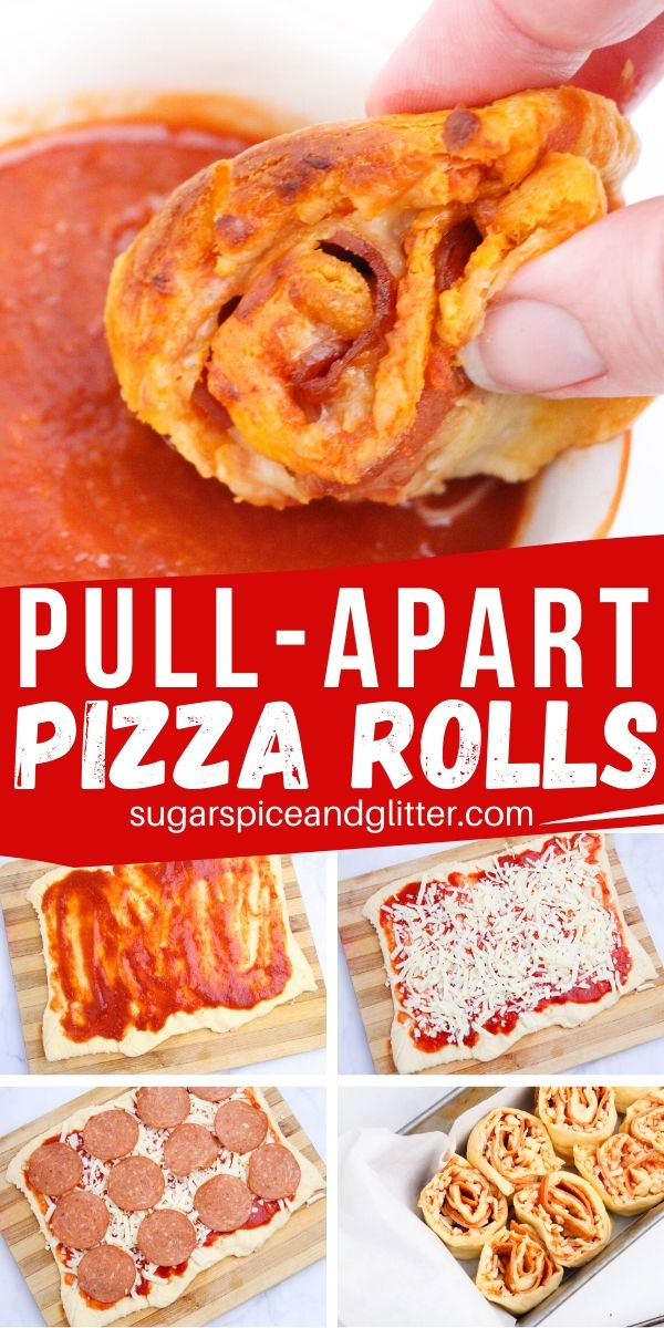 A unique appetizer recipe - these Pull-Apart Pizza Rolls are simple enough that kids can make them, and delicious enough to serve to a crowd! Perfect for parties, tailgating, family night or a lunch box treat