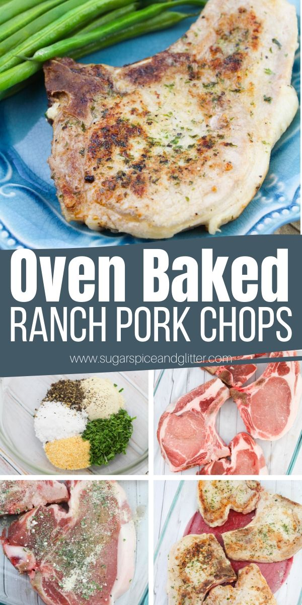 How to make mouth-watering oven baked ranch pork chops using homemade ranch seasoning or ranch seasoning packets (can also be grilled or cooked on the stove). These easy pork chops take less than 5 minutes to prep