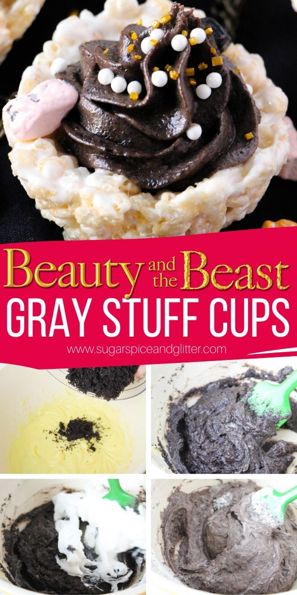 How to make Gray Stuff Cups, a fun Disney Dessert with a light cookies and cream pudding in Rice Krispie Cups. A no-bake dessert perfect for parties or movie nights