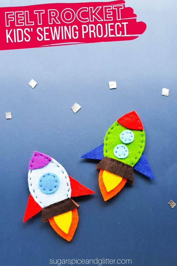 A super simple step-by-step tutorial for how to make a felt rocket. A great first sewing project for kids, especially reluctant sewers.