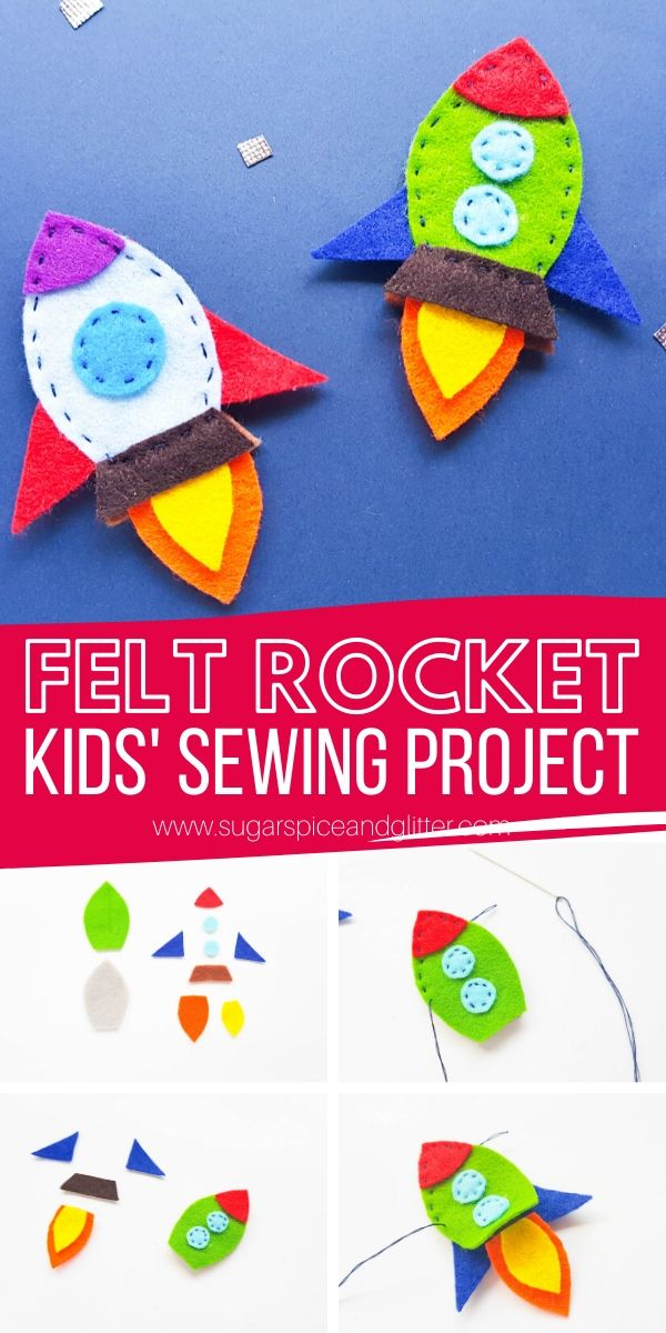 Fun first sewing project for kids: a felt rocket! Use our free printable template to make this project even easier. Sewing is such an essential life skill and this simple felt rocket is a great way to get reluctant sewers excited for sewing!