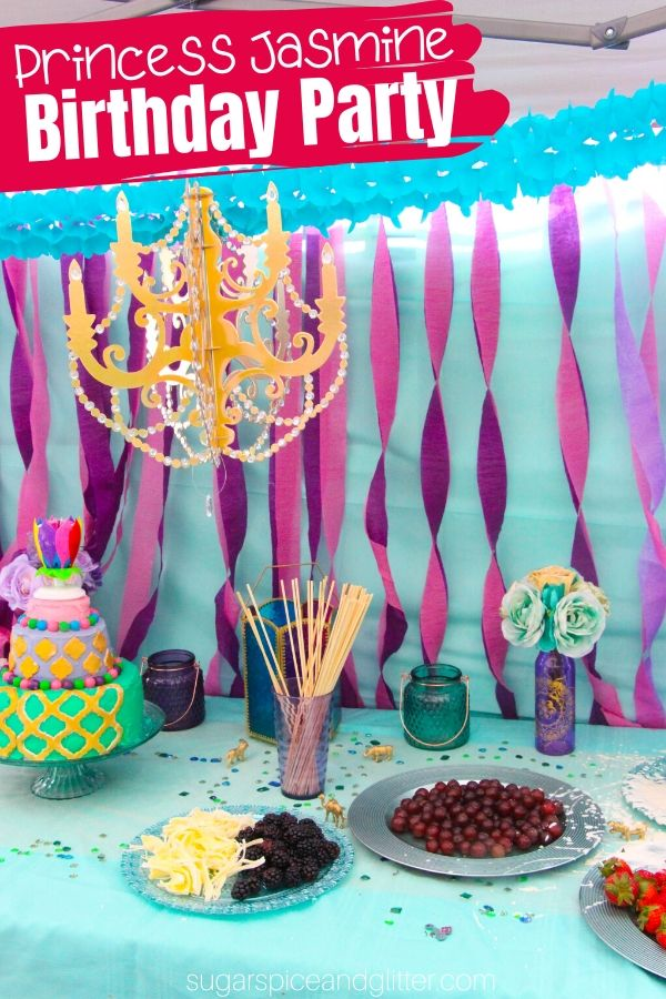 Everything you need to know to plan the ULTIMATE Princess Jasmine Party on a budget. Menu ideas, decor plans, party activities for kids, and easy party favors that double as party crafts.