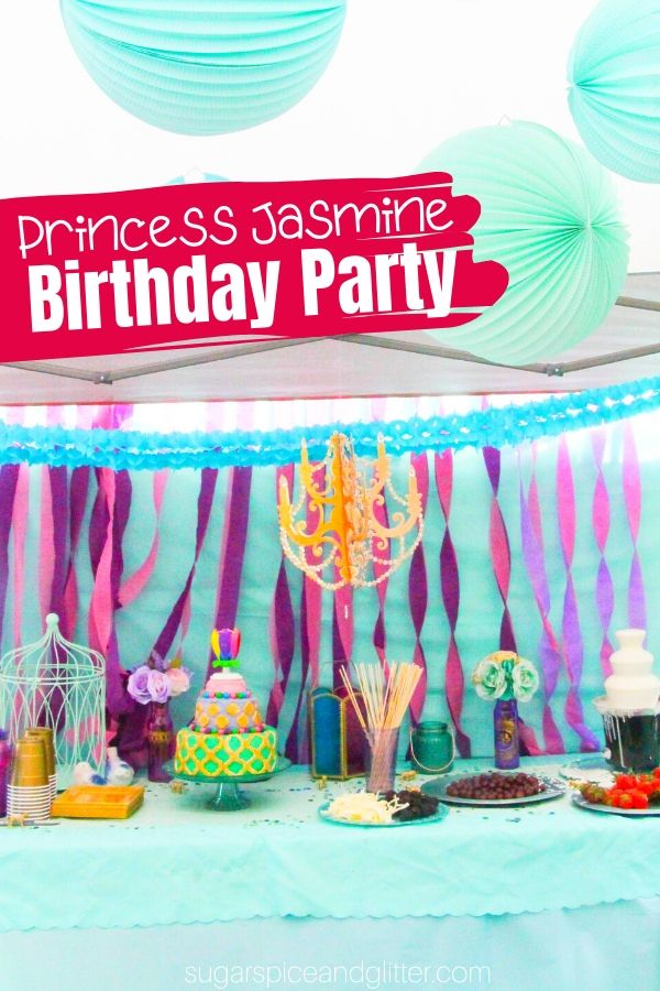 A fun Disney Birthday Party inspired by Princess Jasmine! This super simple birthday party is budget-friendly with awesome ideas for the party menu, activities, grab bags and party activities for kids
