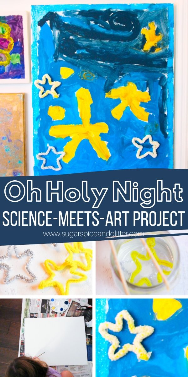 This Christmas art project incorporates art history, a simple grow your own crystal science project and a mixed media art project - and can incorporate learning about the Christmas Story and meaning behind Oh Holy Night