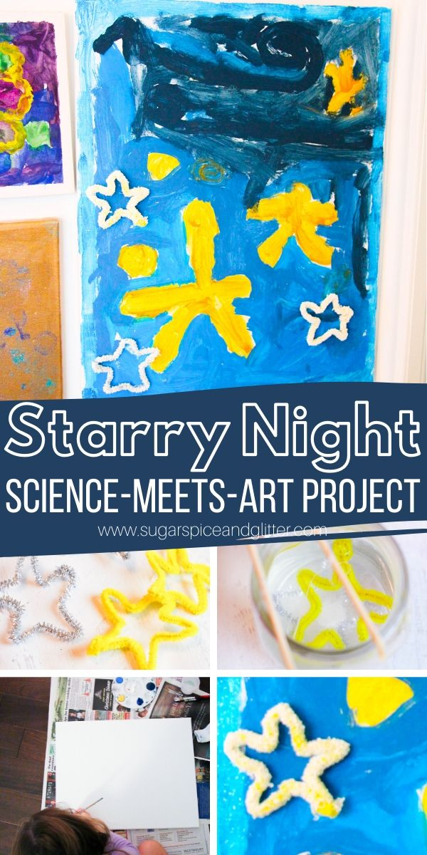 How to make a Starry Night craft with kids to teach them about van Gogh, plus how to grow crystal stars to add to your Starry Night painting for some added magic