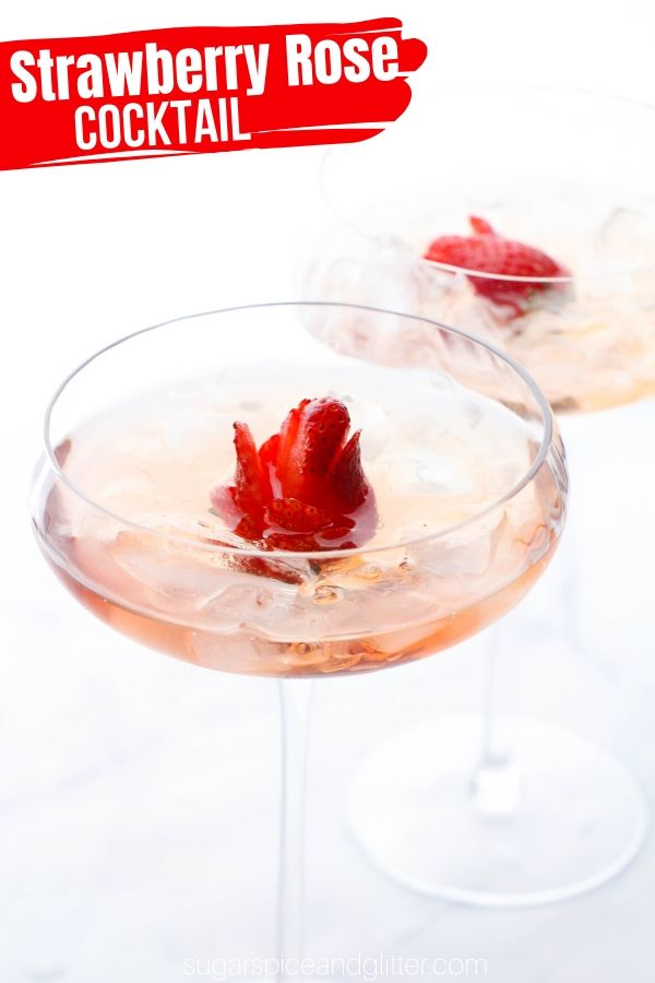 Beauty and the Beast Enchanted Rose Cocktail, a strawberry rose cocktail using flavored vodka and sparkling rose - the perfect option for brunch, girl's night or a Beauty and the Beast party