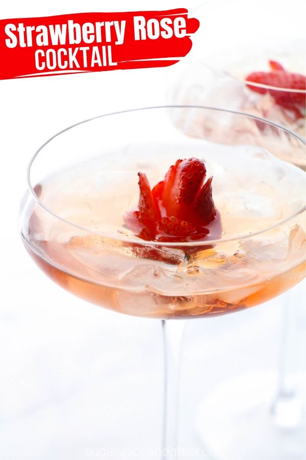 A gorgeous Strawberry Rose cocktail recipe - perfect for girl's night or a Beauty and the Beast Disney cocktail recipe.