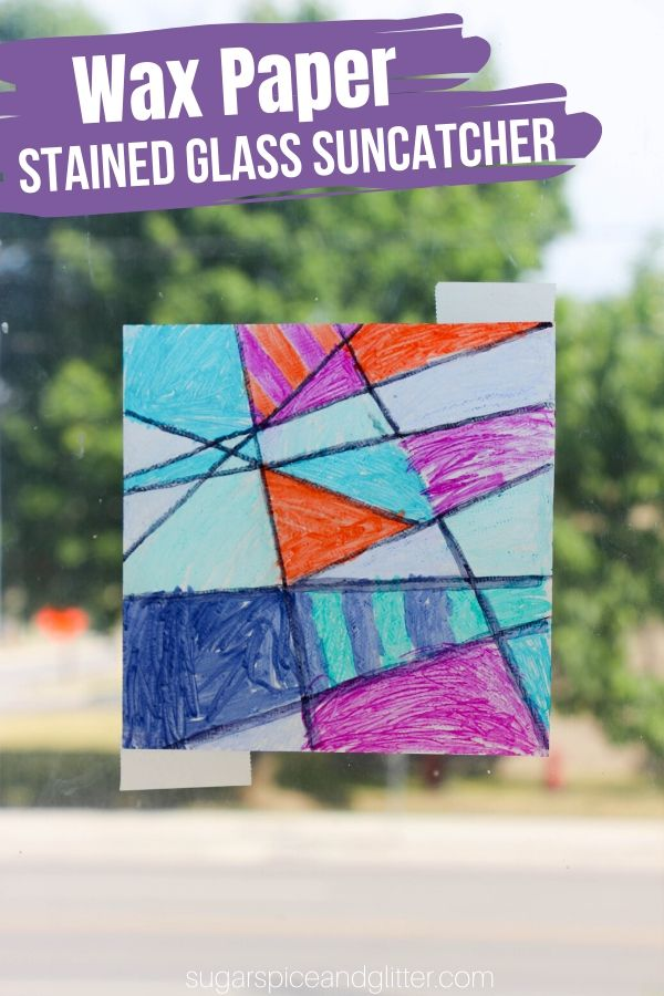 Kids can make their own easy suncatchers in just about any design or pattern with this super simple wax paper suncatcher method. The perfect rainy day craft for kids